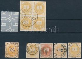 Krajcáros Hírlapbélyeg összeállítás, köztük négyestömb is, szép bélyegzésekkel, összesen 9 db