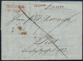 1847 Franco levél piros bélyegzésekkel, PRESBURG - PESTH