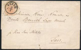 ~1855 Levél 3kr bérmentesítéssel, PESTH