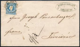 1859 Távolsági levél 15kr bérmentesítéssel KARLSBURG - TEMESVÁR