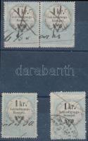 4 db 1kr Hirdetményilleték bélyeg