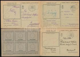 1940-1944 Levelezőlapok különféle tábori postai bélyegzésekkel illetve katonai levelezés polgári postával + hozzá csomagküldésre jogosító szelvények, összesen 23 db levelezőlap / 1940-1944 23 field postcards, soldiers correspondence, parcel coupons