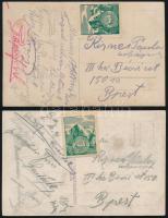 2 db képeslap bélyeg nélkül, a Természetbarátok Turistaegyesülete levélzárójával