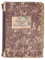 1953 Énekek, népdalok és slágerek, kézzel írt, rajzokkal illusztrált füzet, kissé viseltes, sérült, kopott állapotban, egy kijáró lappal. Benne néhány papírlap kézzel írt/gépelt dalszövegekkel + Zeneműkiadó Vállalat Bp. Válogatott dalszövegek füzet, 16 p.