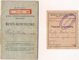 1915-1917. Esztergom 106 - M. Kir. Postatakarékpénztár Budapesten betét-könyvecske és tagsági igazolvány