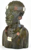 Zulu férfi büszt. Szerpentinből, márványból és gránitból készült mellszobor. Jelzett: Gsehton. m:15cm
