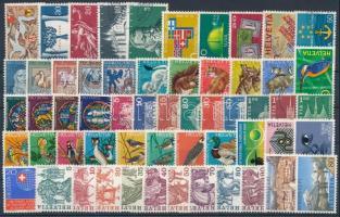 Svájc 1941-1977 67 db bélyeg, köztük 13 db motívum sor, 2 db stecklapon