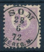 1871 Kőnyomat 25kr sötétibolya színben, rendkívül ritka sima hely-kelet bélyegzéssel, SOM / BEREG. M. (Gudlin 400 p)