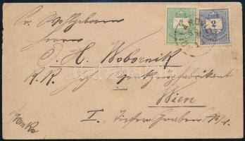 1885 Franko levél 2kr és 3kr bérmentesítéssel Bécsbe KOLLAROVICZ (Gudlin 100 p)