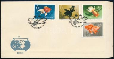 Kínai Népköztársaság 1960 Aranyhalak sor 4 db bélyege FDC-n Mi 538-541 (a teljes sor / full set Mi EUR 600,-)
