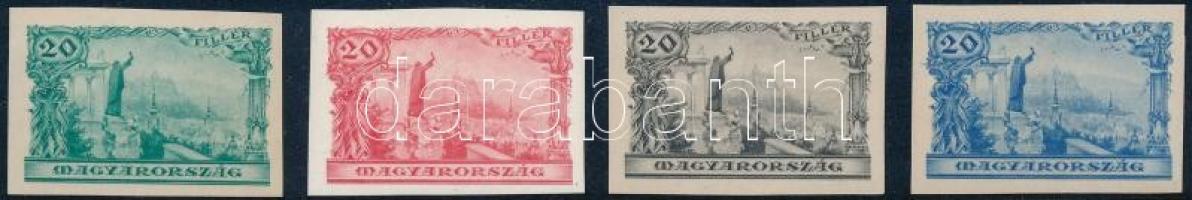 1935 4 klf vágott 20f bélyeg próbanyomat