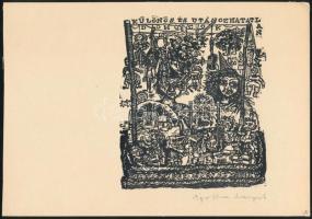Ágotha Margit (1938-): Bohócok. Linómetszet, papír, jelzett. 13,5x11 cm