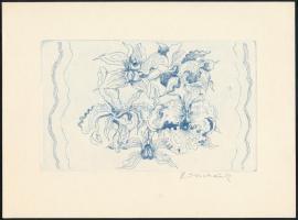 Ábrahám Rafael (1929-2014): Virágok. Rézkarc, papír, jelzett, 10×16,5 cm