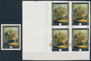 1969 Festmények (VII.) 60f ívszéli vágott 4-es tömbben az arany keret jelentős eltolódásával + támpéldány