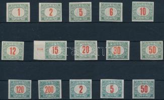 1915 Pirosszámú zöldportó vágott sor (10.000) (10f gumiér / gum crease)