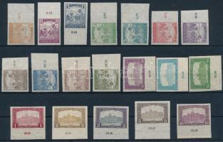 1916 Arató/Parlament ívszéli vágott sor (30.000) (kis hibák, a 7f törött / minor faults, 75f folded)