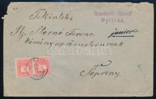 1887 Túlsúlyos levél 2 x 5kr bélyeggel Stornó Ferenc kéményseprőmester úrnak NYITRA / DÉLELŐTT - Sopron (Stornó ház)