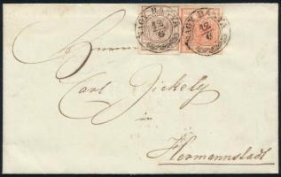 1857 3kr + 6kr távolsági levélen, teljes tartalommal, NAGY BÁNYA - CLAUSENBURG - HERRMANNSTADT Dekoratív darab!