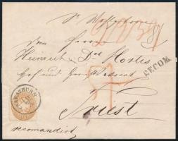 1864 Ajánlott levél előoldali 15kr + hátoldali 1863-as kiadású 10kr bérmentesítéssel (bontáskor kettétépve, majd javítva), CSAKATHURN - TRIEST