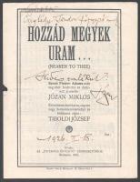 1926 Hozzád megyek Uram, Józan Miklós zeneszerző autográf aláírásával jelzett kottafüzet