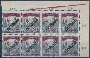 Temesvár III. 1919 Arató/Köztársaság 1K/4f ívsarki 8-as tömb az ívszélen látványos szegélyléc lenyomattal, Bodor vizsgálójellel