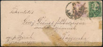 1875 Távolsági levél Réznyomat 3Ft + Színesszámú 2kr vegyes bérmentesítéssel POZSONY - Bágyon, másodosztályú (100.000)