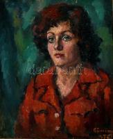 Olvashatatlan jelzéssel, a XX. sz. második felében működött magyar festő alkotása: Női portré, 1976. Olaj, vászon. Fa keretben. 65x53 cm