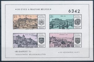 1971 Budapest 71 I. vágott blokk (3.500) (apró gumihiba / tiny gum disturbance)