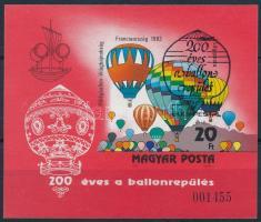 1983 200 éves a ballonrepülés vágott blokk elsőnapi bélyegzéssel (8.000)