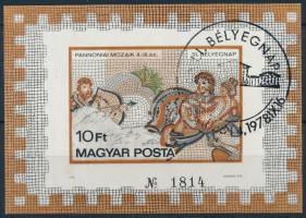1978 Bélyegnap - Pannóniai mozaikok vágott blokk elsőnapi bélyegzéssel (25.000)