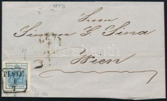 1853 Távolsági levélen 9kr HP IIIa type jó / óriási szélekkel, lemezhiba a STEMPEL feliratban PESTH - WIEN látványos, szép darab!