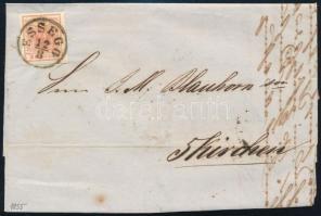 1855 Távolsági levélen 3kr MP III típe jó / óriási szélekkel ESSEGG - FÜNFKIRCHEN teljes tartalommal, látványos, szép darab!