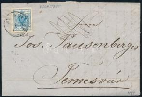 1858 Távolsági levélen 9kr MP IIIb típe szép / óriási szélekkel K(RO)NSTADT - TEMESVÁR teljes tartalommal, látványos, szép darab!