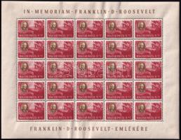 1947 Roosevelt sor feliratos teljes ívekben 8 lapos A/4 berakóban (400.000) / Set of 8 sheets of 25 in stockbook (az ívszéleken ráncok, törések, a bélyegek általában jó minőségűek / creases, folds, small demage on margins, the stamps are of goof quality)