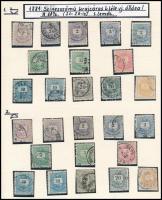 1881 Színesszámú Krajcáros kiadás vízjelállás gyűjtemény 52 db bélyeg