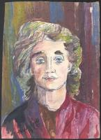 B. Hajdú László (1926-1998): Női portré, 1975. Vegyes technika, papír, jelzett. 33×23,5 cm