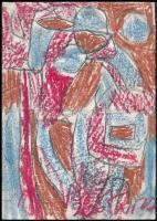Csepeli Németh Miklós (1934-2012): Színes akt. Kréta, papír, jelzett. Sérült (közepén törésnyommal). 29,5x21 cm