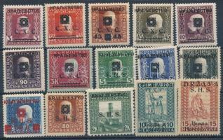 Jugoszlávia 1918-1919 15 db felülnyomott bélyeg