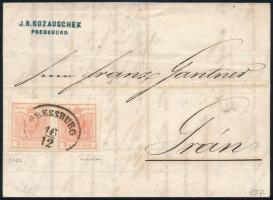 1857 Távolsági levélen 2 x 3kr MP type IIIb szép szélekkel, eltérő színárnyalatú bélyegek PRESSBURG - GRAN szép cégbélyegzővel az előoldalon, teljes tartalommal, látványos, szép kiállítási darab, a levélen Ferchenbauer meghatározás és szignó.