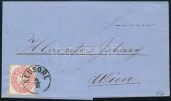 1866 Távolsági levél 5kr bérmentesítéssel NEUSOHL - WIEN hátoldalán céges levélzáró, látványos, szép darab!