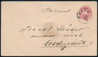 186. 5kr díjjegyes levél PESTH - ÉRSEKÚJVÁR szép darab!