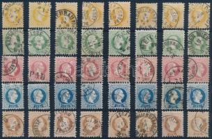 Ausztria 1867 40 db bélyeg színárnyalatokkal közte szép bélyegzések
