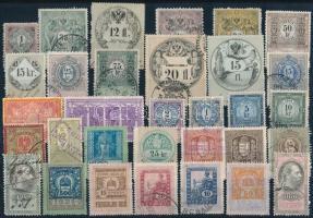 32 db régi magyar és osztrák okmánybélyeg