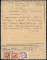 1891 35kr díjjegyes táviratlap 2kr + 24kr + 50kr díjkiegészítéssel, egy szó díja 4kr + min. 30kr. ESZTERGOM - Pless (Németország, ma már Lengyelország) a külföldre küldött táviratok rendkívül ritkák! Luxus kiállítási darab! RRRR!
