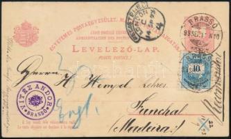 1893. szept.11. 5kr díjjegyes válaszos levelezőlap 10kr díjkiegészítéssel egybefüggő használatlan válaszlappal BRASSÓ - Funchal (Madeira) igazi ritkaság RRRR!
