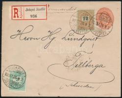 1892.szept.26. 5kr díjjegyes ajánlott levél 3kr + 12kr díjkiegészítéssel BUDAPEST / JÓZSEFTÉR - Tillberga (Svédország), a 3kr bélyegen a boríték vonalkázott, Luxus kiállítási darab!