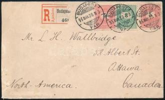 1895 Ajánlott levél 3kr + 2 x 5kr bérmentesítéssel nyomtatványként (?) (nyomtatványdíj 3kr, ajánlás 10kr) Kanadába küldve, érdekes és ritka tartifa RR!