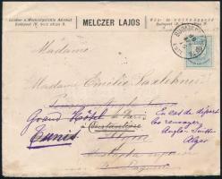 1888.ápr.16. Külföldi levél 10kr bérmentesítéssel Algériába küldve többszörösen utánküldve. Érdekes és igen ritka kiállítási darab RRR!