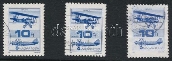 1988 Repüléstörténet 10Ft 3 db bélyeg törött szárnytartó lemezhibával (30.000)