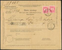 1890 júli.21. Nemzetközi tértivevény 2 x 5kr bérmentesítéssel BUDAPEST / FŐPOSTA L.P.